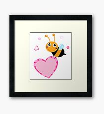 Happy cute Ladybug with pink heart : adorable design Framed Print