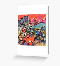 Fishing boats, New Quay, West Wales Greeting Card