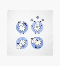 Happy doodle sheep set. Blue original designers arts Scarf