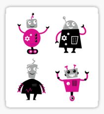Cute cartoon robot characters : pink and black  Sticker