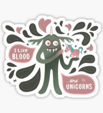 Spooky vampire monster with unicorn Sticker