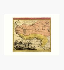 Old Map of West Africa circa 1743 Art Print