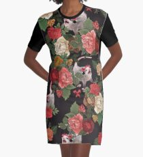 Opossum floral pattern Graphic T-Shirt Dress