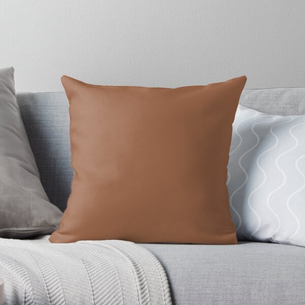 Brown Adobe Color Trendy 2021 2022 Solid Color Throw Pillow