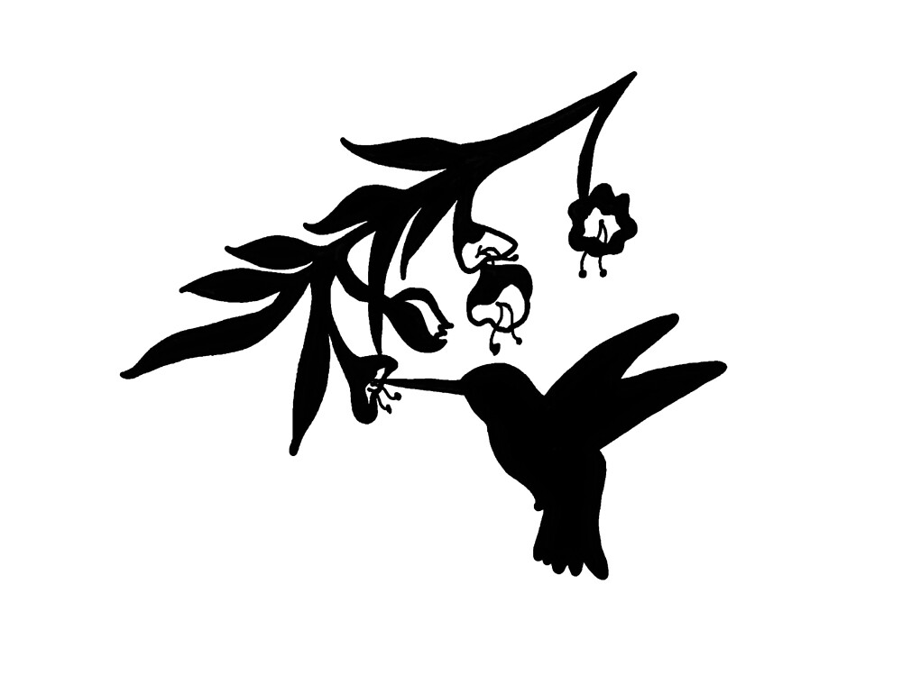 Hummingbird Silhouette with flowers by imphavok