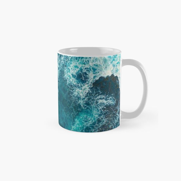 Blue and White Sea Waves - Abstract Painting Classic Mug