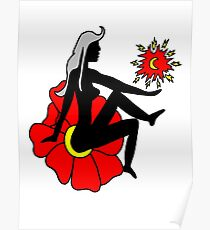 Faerie Silhouette on a Flower Poster