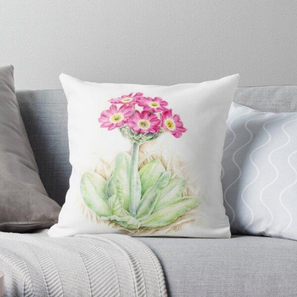 Primrose pink primula scotica Throw Pillow
