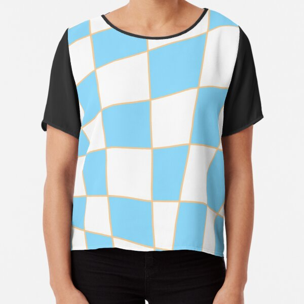 Distorted Checkers: Blue and Orange Chiffon Top