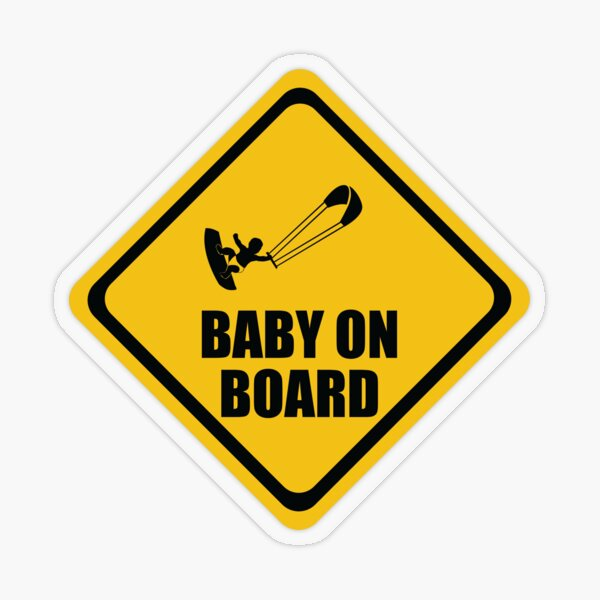 Kiteboarding Baby on Board Transparent Sticker