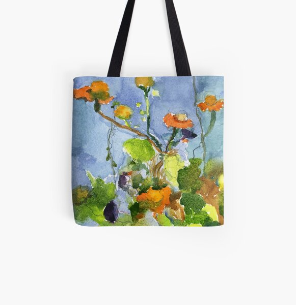 Flowers & Sky All Over Print Tote Bag