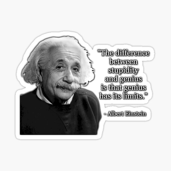 Albert Einstein on Genius and Stupidity Sticker