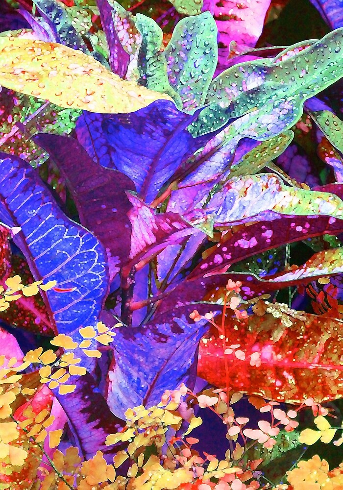 Fantasy Colored Leaf Abstract by Margaret Saheed