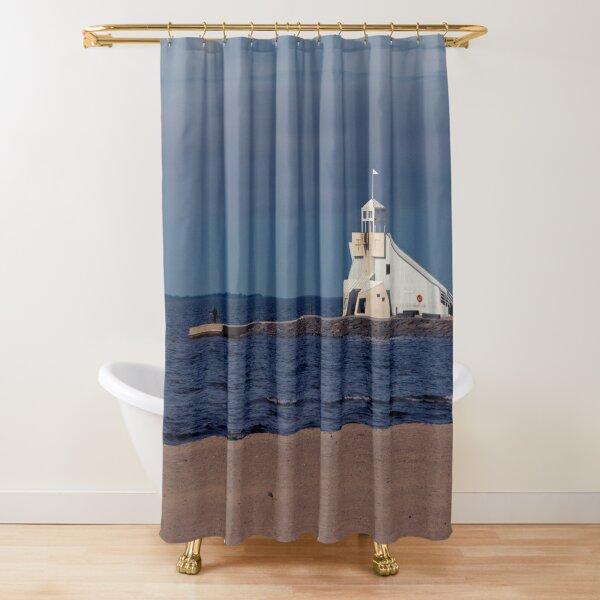 Watchtower on Serene Autumn Ocean Beach Shower Curtain