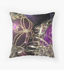 Study on purple Christmas baubles Throw Pillow