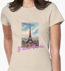 J'aime Paris (I Love Paris) Eiffle Tower Womens Fitted T-Shirt