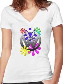 VW Peace hand sign with flowers Women's Fitted V-Neck T-Shirt