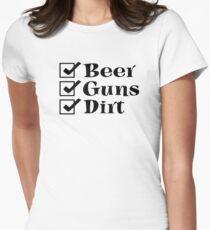 BEER GUNS DIRT Checklist Women's Fitted T-Shirt