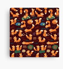 Cute foxes Canvas Print