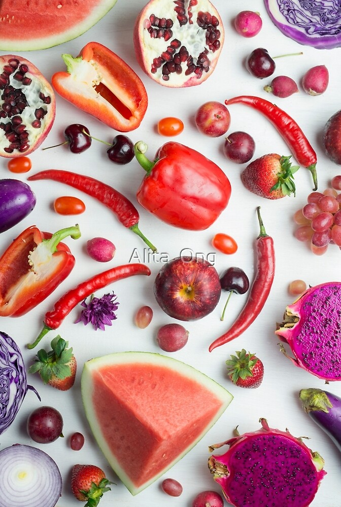 Red food on white by Alita  Ong
