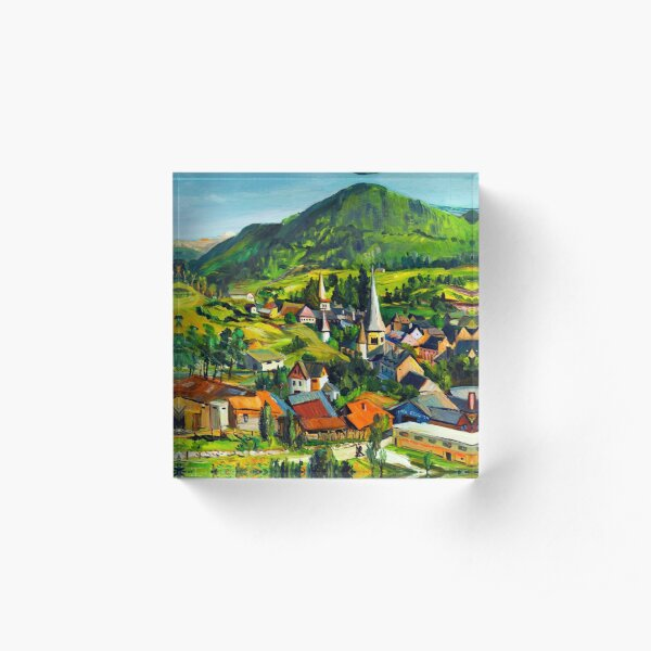 Village in the mountains Acrylic Block