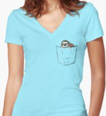 Sloth in a pocket Women's Fitted V-Neck T-Shirt