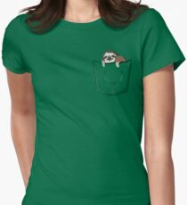 Sloth in a pocket Women's Fitted T-Shirt
