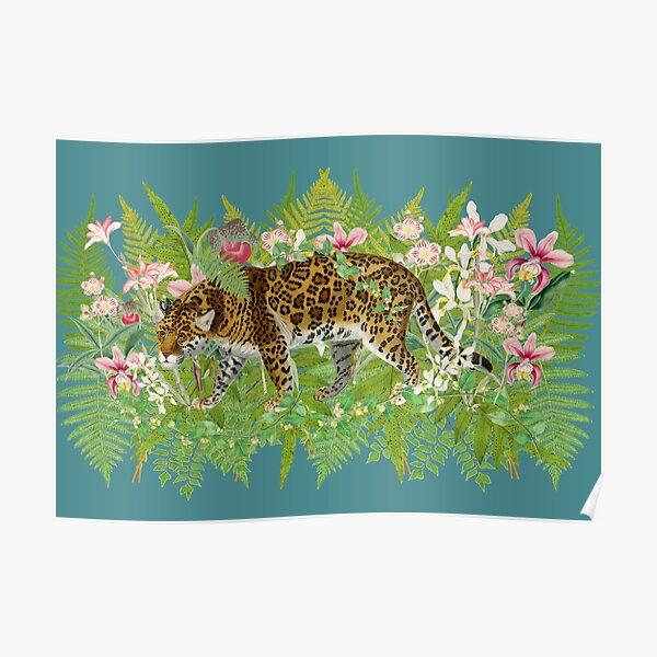 Stalking Vintage Leopard Hiding In Jungle Flowers And Leaf Poster