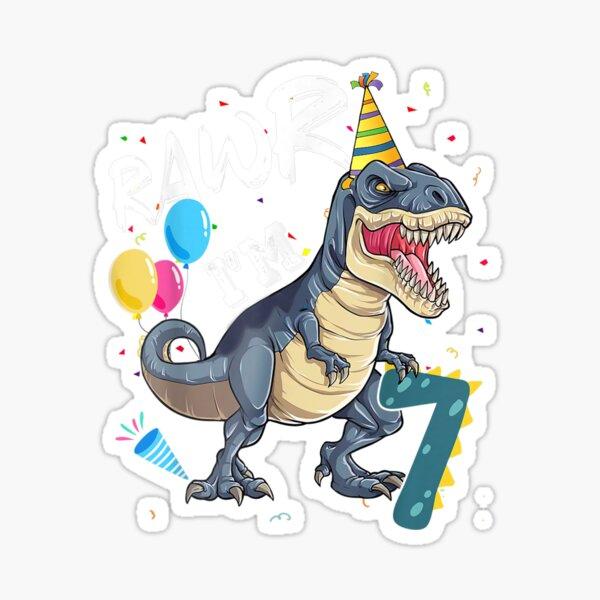 Rawr Feliz cumpleaños Dinosaurio divertido Pegatina