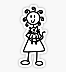 The Girl with the Curly Hair Holding Cat - White Sticker