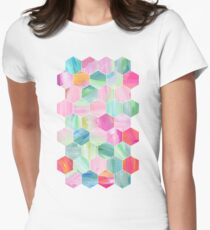 Pretty Pastel Hexagon Pattern in Oil Paint Womens Fitted T-Shirt
