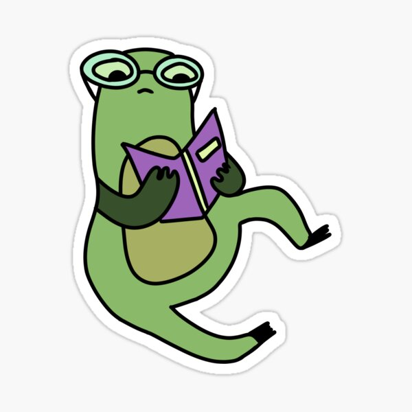 Kawaii frog with glasses reading a book Sticker