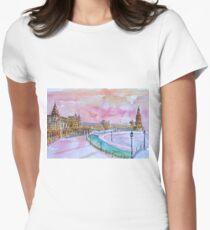 Sevilla Spain Plaza Espana at sunset Women's Fitted T-Shirt