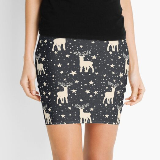 Retro Reindeer Starry Night Hygge Aesthetic Pattern Mini Skirt