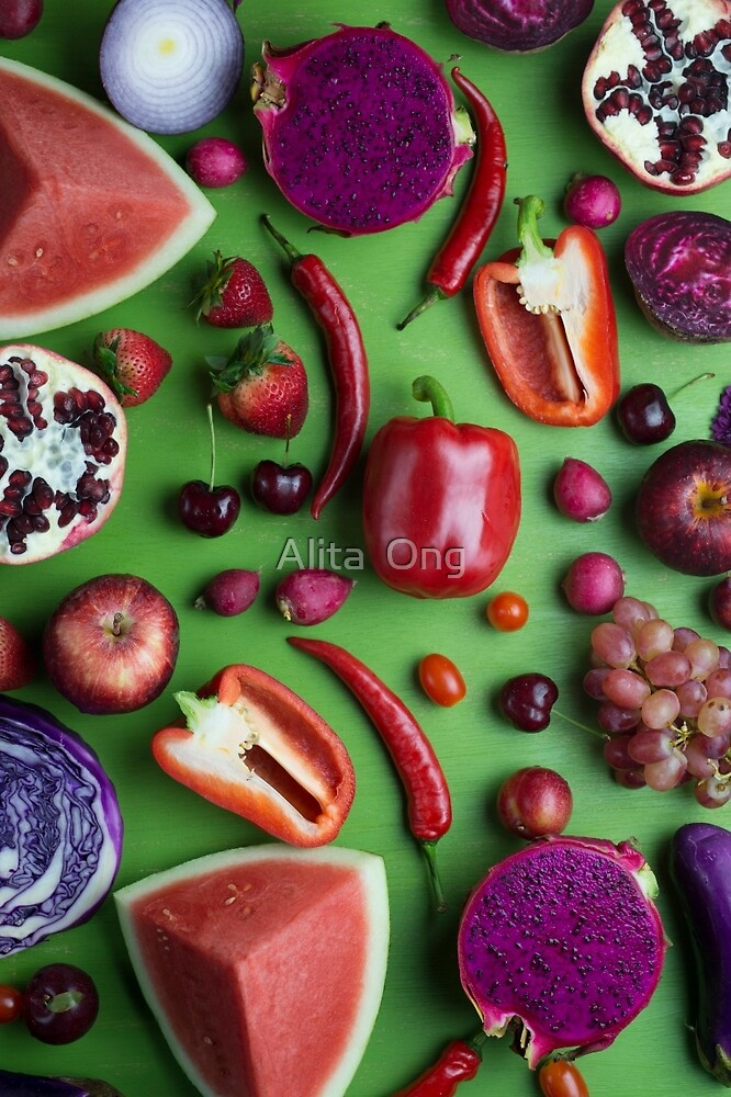 Red food on green by Alita  Ong