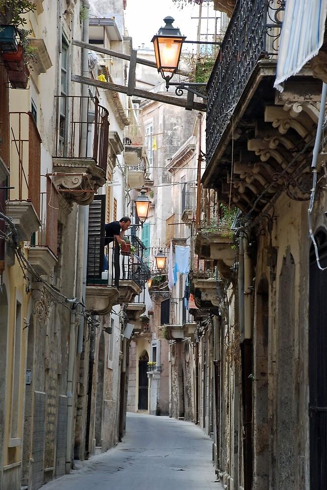Old street in Siracusa by Arie Koene
