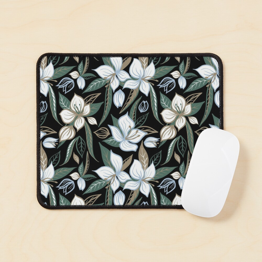 White flowers at night Mouse Pad