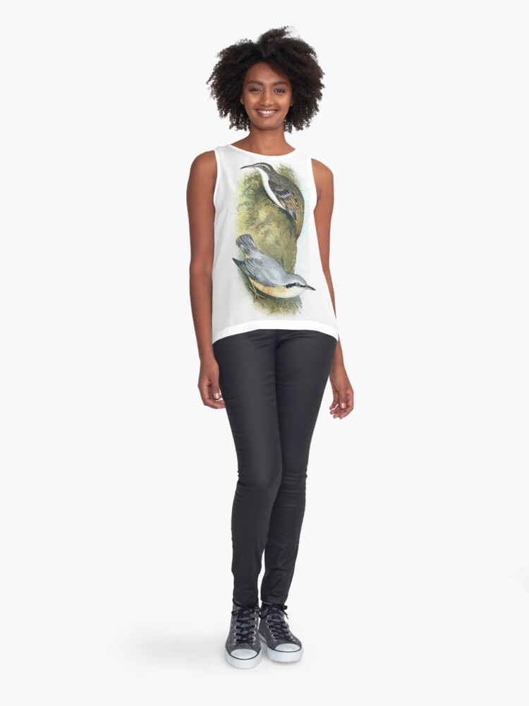 Alternate view of Tree Creeper and Nuthatch Sleeveless Top