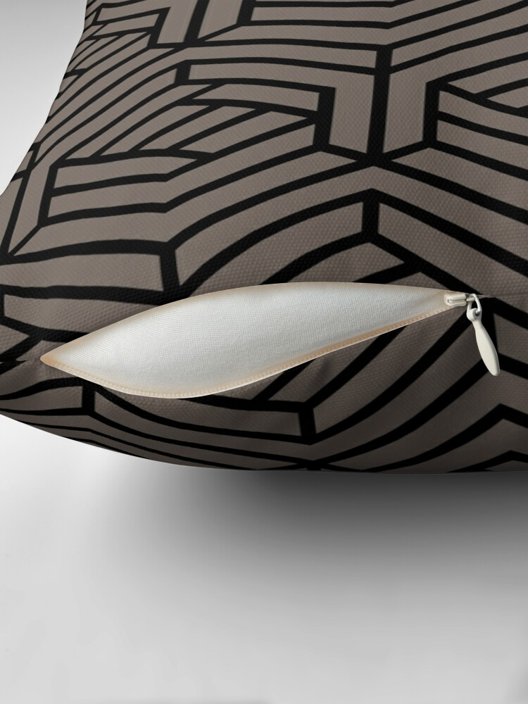 Alternate view of Grayish Brown and Black Modern Cube Pattern Pairs 2022 Popular Color Sherwin Williams Garret Gray SW 6075 Throw Pillow