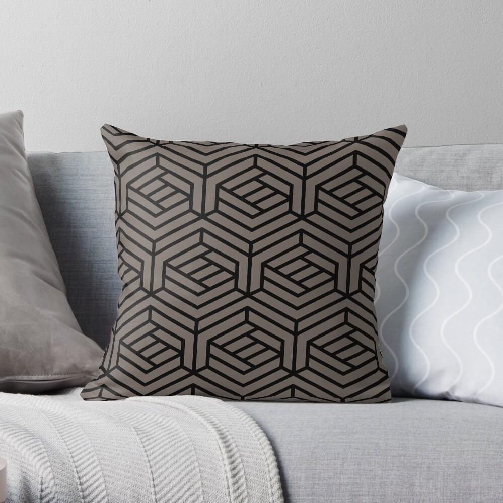 Grayish Brown and Black Modern Cube Pattern Pairs 2022 Popular Color Sherwin Williams Garret Gray SW 6075 Throw Pillow