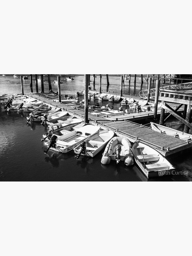 Black and White Small Boats at Dock by Ruthie33
