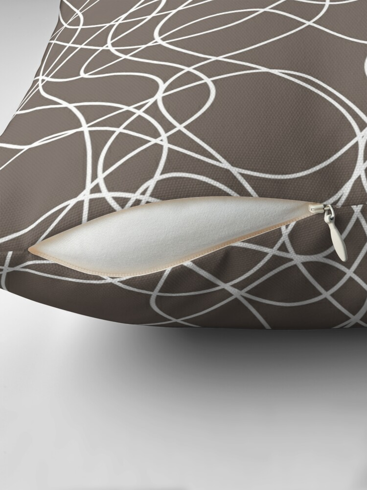 Alternate view of Grayish Brown and White Scribbled Line Pattern Pairs 2022 Popular Color Sherwin Williams Garret Gray SW 6075 Throw Pillow