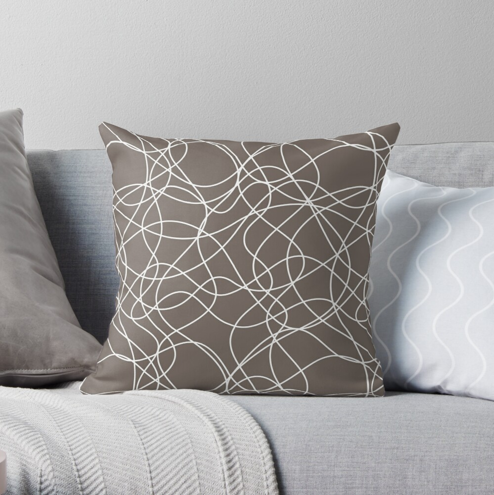 Grayish Brown and White Scribbled Line Pattern Pairs 2022 Popular Color Sherwin Williams Garret Gray SW 6075 Throw Pillow