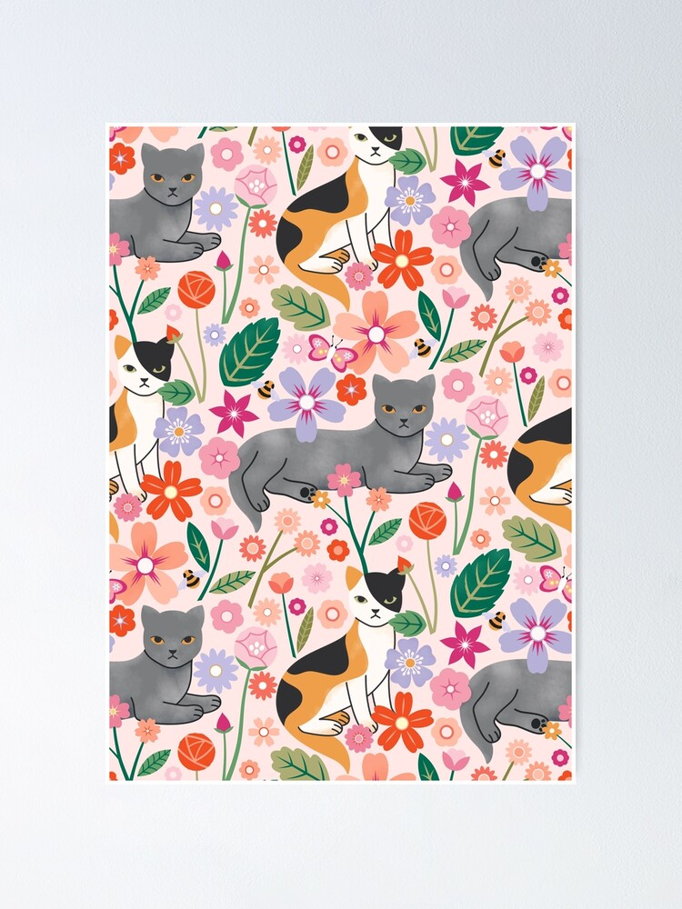 Alternate view of Botanical Cats Poster