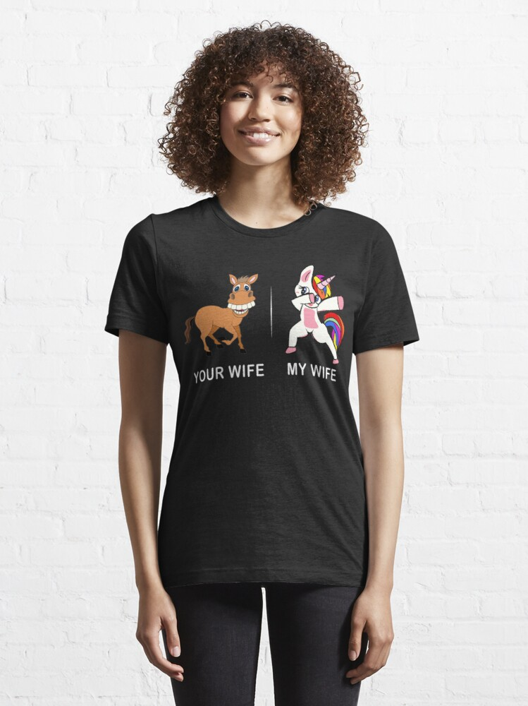 Alternate view of Unicorn Tshirt Your wife my wife for Men Funny Shirt  Essential . Essential T-Shirt