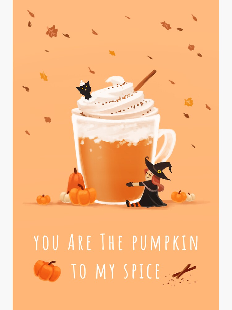 You Are The Pumpkin To My Spice - Cute Storybook Style Halloween Illustration by xstarrylightx