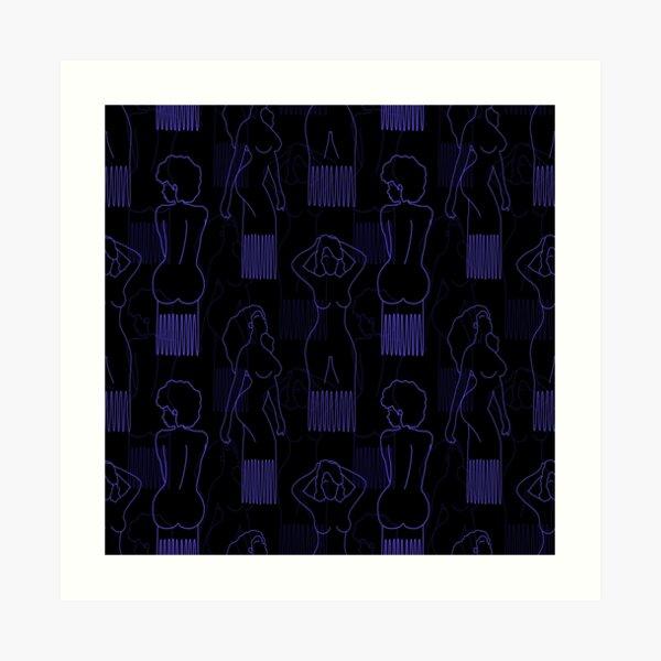 Blue woman-shaped comb on black background Art Print