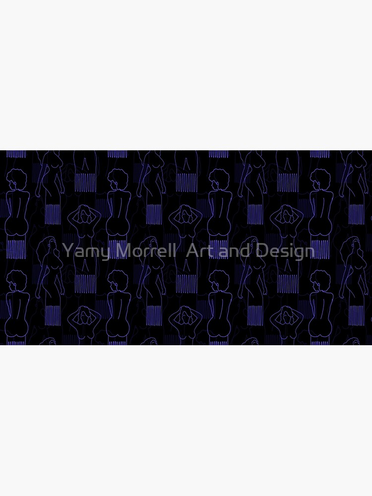 Blue woman-shaped comb on black background by YamyMorrell