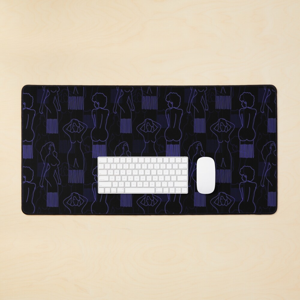 Blue woman-shaped comb on black background Mouse Pad
