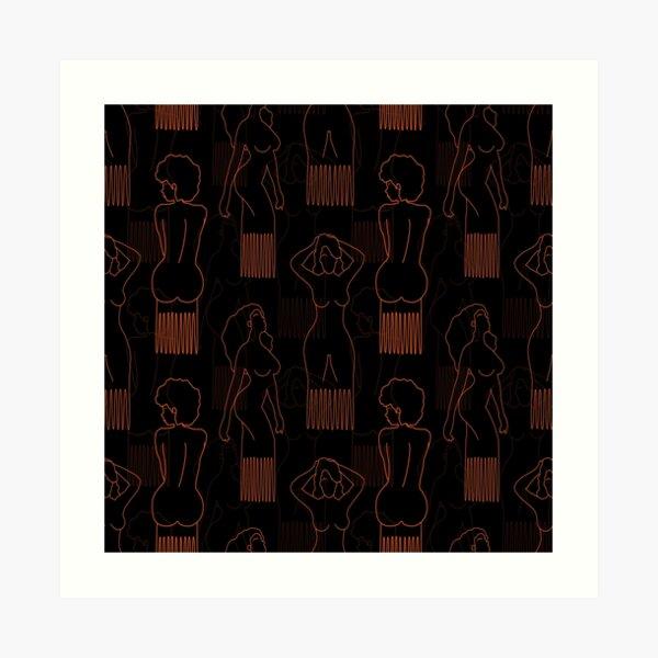 Orange woman-shaped comb on black background Art Print